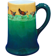 "Porcelaine Limousine (PL) Limoges Arts & Crafts Chicken Design Tankard/Mug (Signed ""E.L.""/Dated 1909)"