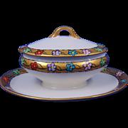 "Gerard, Duffraisseix & Abbott (GDA) Limoges Arts & Crafts Floral Motif Condiment Dish (Signed ""M. Vail""/c.1915-1941)"