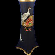 "Heinrich & Co. (H&Co.) Selb Bavaria Arts & Crafts Pheasant & Florals Motif Vase (Signed ""Louise Frarg""/c.1910-1930)"