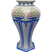 "Lenox Belleek Arts & Crafts Enameled Floral Design Vase (Signed ""A.H.V.""/c.1906-1924)"