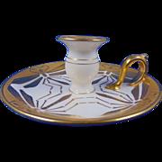 Gerard, Duffraisseix & Abbott (GDA) Limoges Arts & Crafts Etched Gold Dragonfly Design Candlestick/Candle Holder (c.1915-1941)