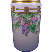 "Bernardaud & Co. (B&Co.) Limoges Arts & Crafts Fuchsia Flower Design Vase (Signed ""P. Swanton""/c.1900-1920)"