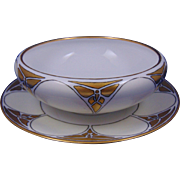 "Favorite Bavaria Art Deco Butterfly Design Centerpiece Bowl & Plate Set (Signed ""Wanda West Field""/Dated 1914)"