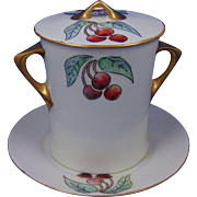 Hutschenreuther Selb Bavaria Cherry Design Condensed Milk Set (c.1910-1930)
