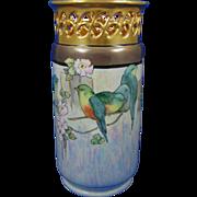 "Bavaria Arts & Crafts Bird Design Vase (Signed ""G. Harris""/c.1910-1930)"