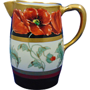 "Pickard Studios GDA Limoges ""Poppy & Black"" Design Pitcher (Signed ""Loh"" for John Loh/ c.1903-1905)"