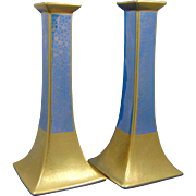 "Pickard Studios Bernardaud & Co. Limoges ""Tracery & Blue Lustre"" Design Candlesticks (c.1919-1922)"