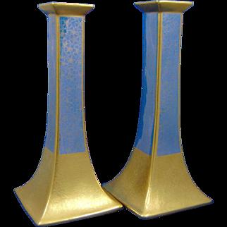 "Pickard Studios Bernardaud & Co. Limoges ""Tracery & Blue Lustre"" Design Candlesticks (c.1919-1922)"