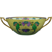 "Bernardaud & Co. (B&Co.) Limoges Arts & Crafts Parrots & Grape Design Centerpiece Bowl (Signed ""Benoit et Marthe'""/Dated 1925) - Keramic Studio Design"