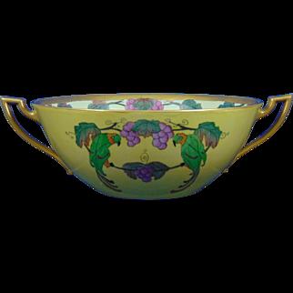 "Bernardaud & Co. (B&Co.) Limoges Arts & Crafts Parrots & Grape Design Centerpiece Bowl (Signed ""Benoit et Marthe'""/Dated 1925) - Keramic Studio Design"