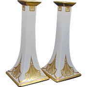 Bernardaud & Co. (B&Co.) Limoges Art Deco Gold & White Candlesticks (c.1900-1914)