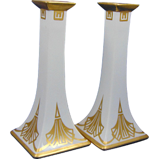 Bernardaud & Co. (B&Co.) Limoges Art Deco Gold & White Candlesticks (c.1900-1914)