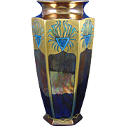 Bernardaud & Co. (B&Co.) Limoges Arts & Crafts Copper Lustre Stylized Peacock Feather Motif Vase (c.1910-1930)