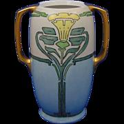 "Moritz Zdekauer (MZ) Austria Arts & Crafts Daffodil/Jonquil Design Vase (Signed ""P.M.""/Dated 1918) - Keramic Studio Design"