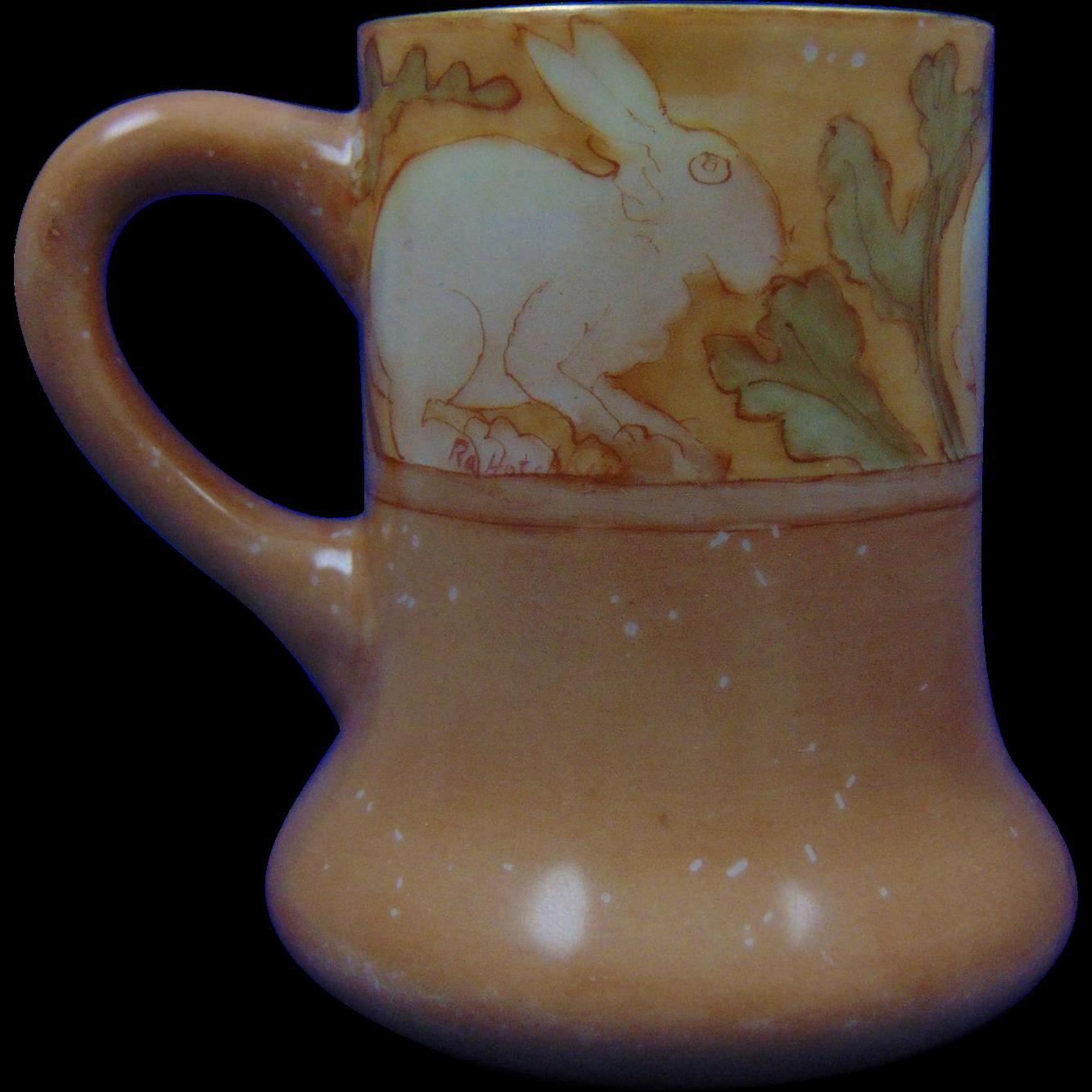 "Charles Martin Limoges Arts & Crafts Rabbit Design Mug (Signed ""Ra Hotchkiss""/c.1891-1930)"