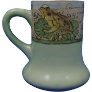 "Charles Martin Limoges Arts & Crafts Frog & Lily Pad Design Mug/Cup (Signed ""Ra Hotchkiss""/c.1891-1930)"