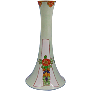 "Paroutaud Freres (P&P) La Seynie Limoges Arts & Crafts Floral Design Candlestick (Signed ""N. Wood F.""/c.1910-1930)"