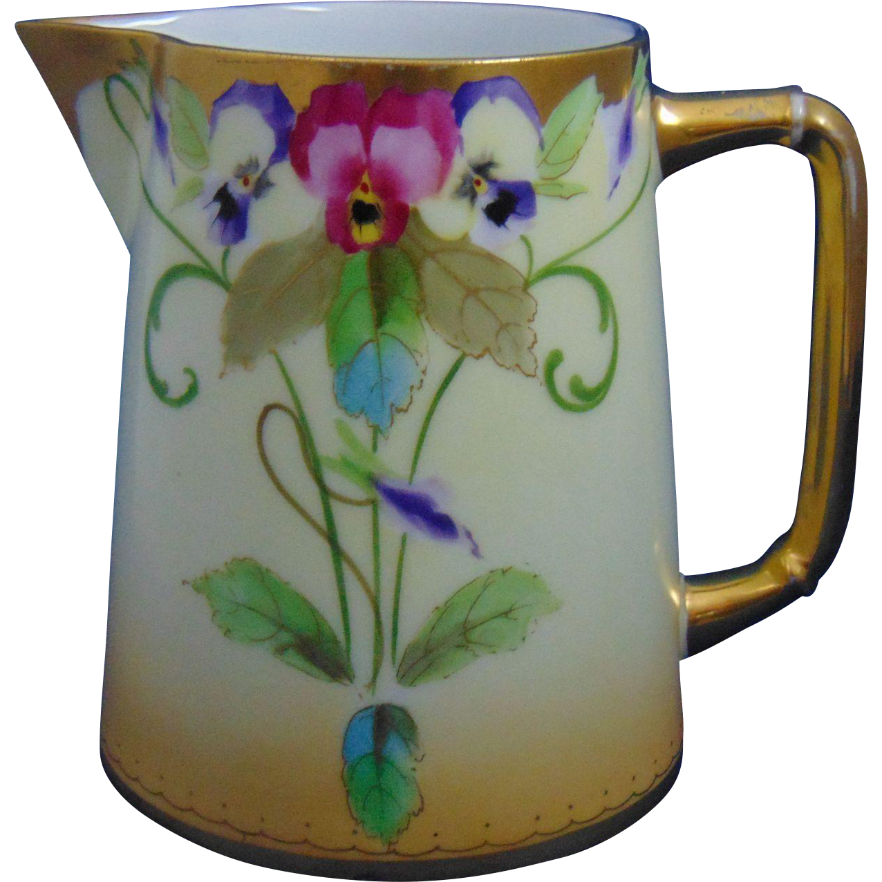 """Pickard Studios Charles Martin Limoges Pansy Design Pitcher (Signed """"E. Gibson""""/c.1903-1905)"""