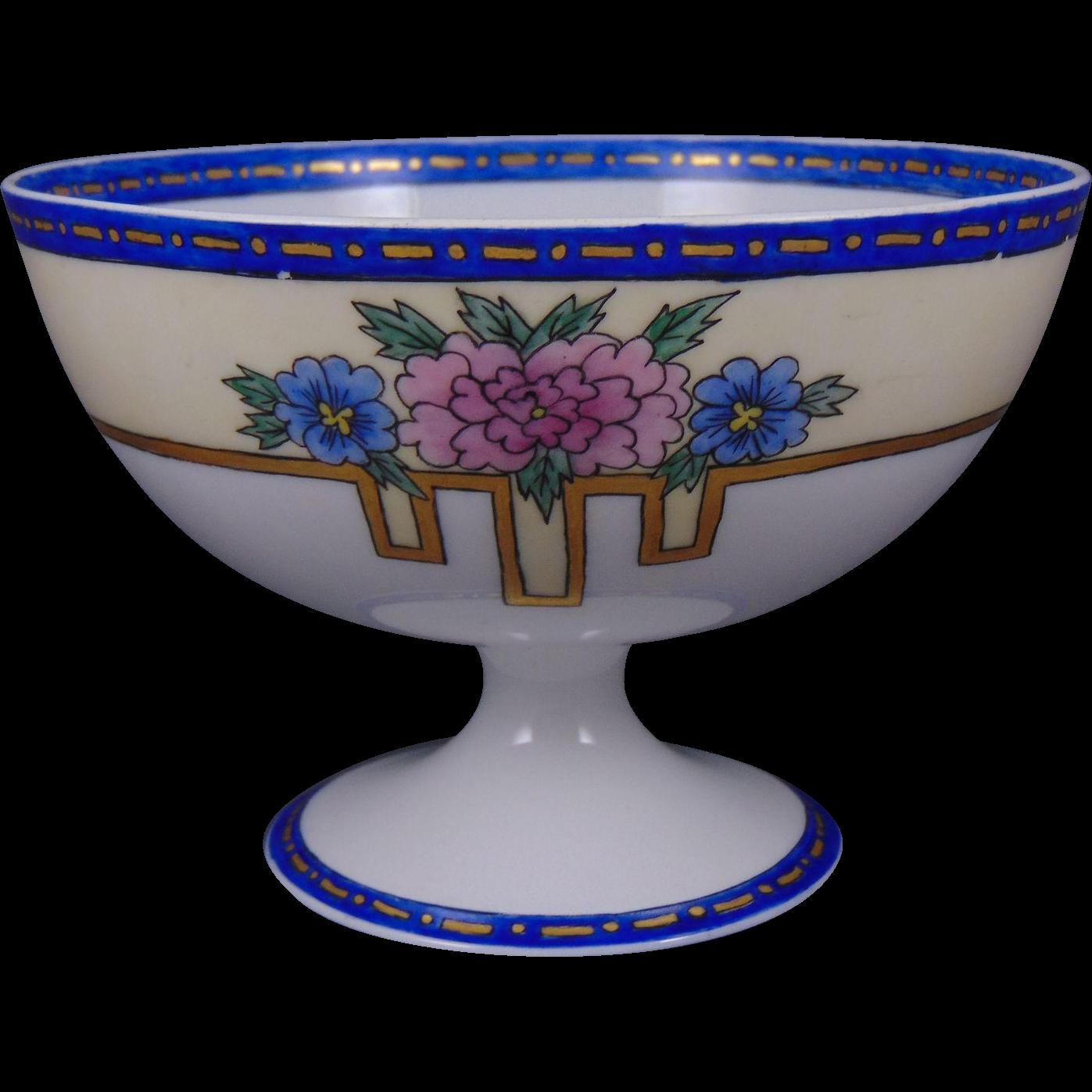 Tressemann & Vogt (T&V) Limoges Arts & Crafts Floral Design Pedestal Bowl (c.1910-1935)