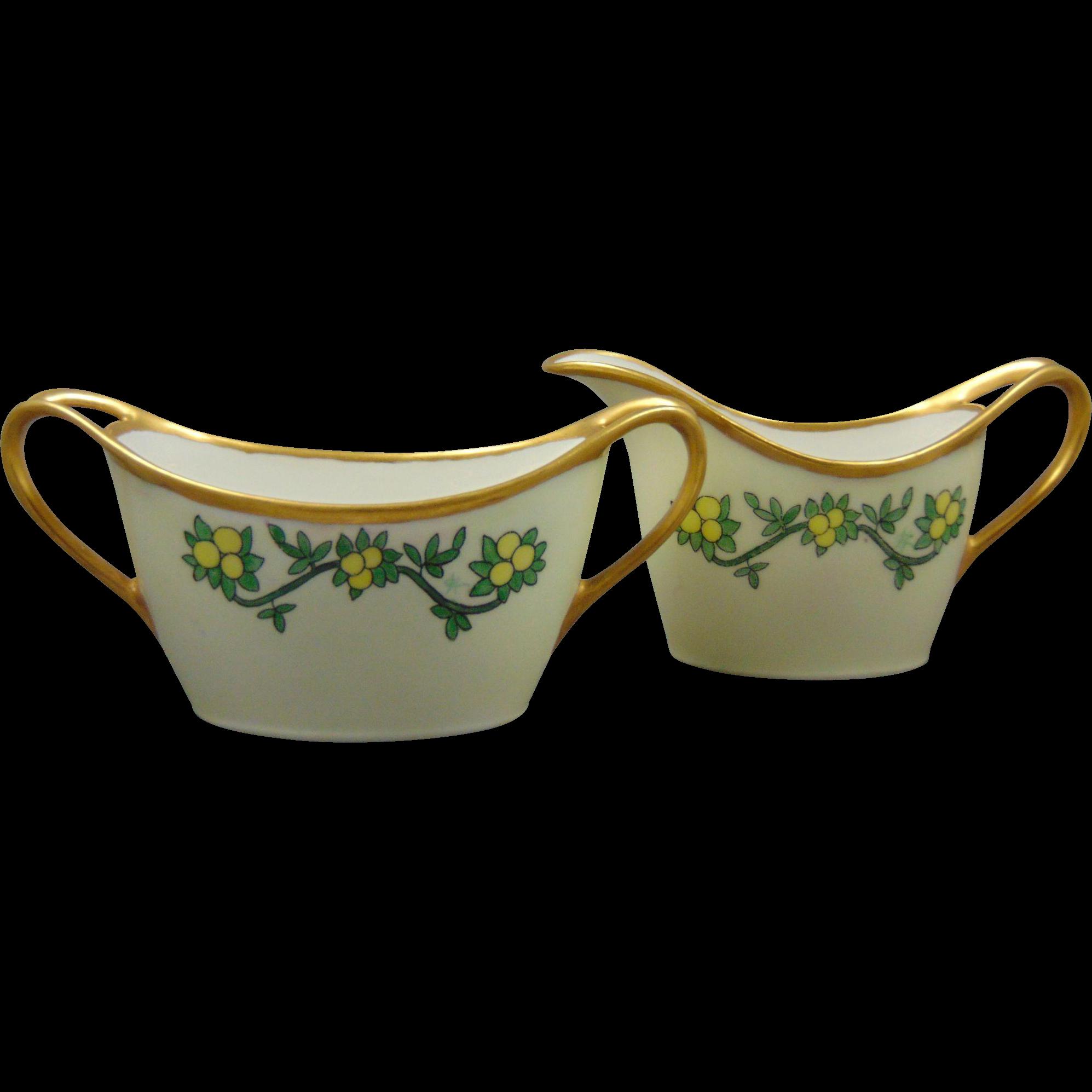 """Limoges """"Mark 2""""/Bawo & Dotter Elite Limoges Arts Deco Lemon Motif Creamer & Sugar Set (Signed/c.1900-1930)"""
