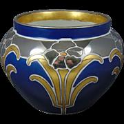 Delinieres & Co. (D&Co.) Limoges Blue, Platinum & Gold Floral Motif Jardinière/Vase (c.1894-1930)