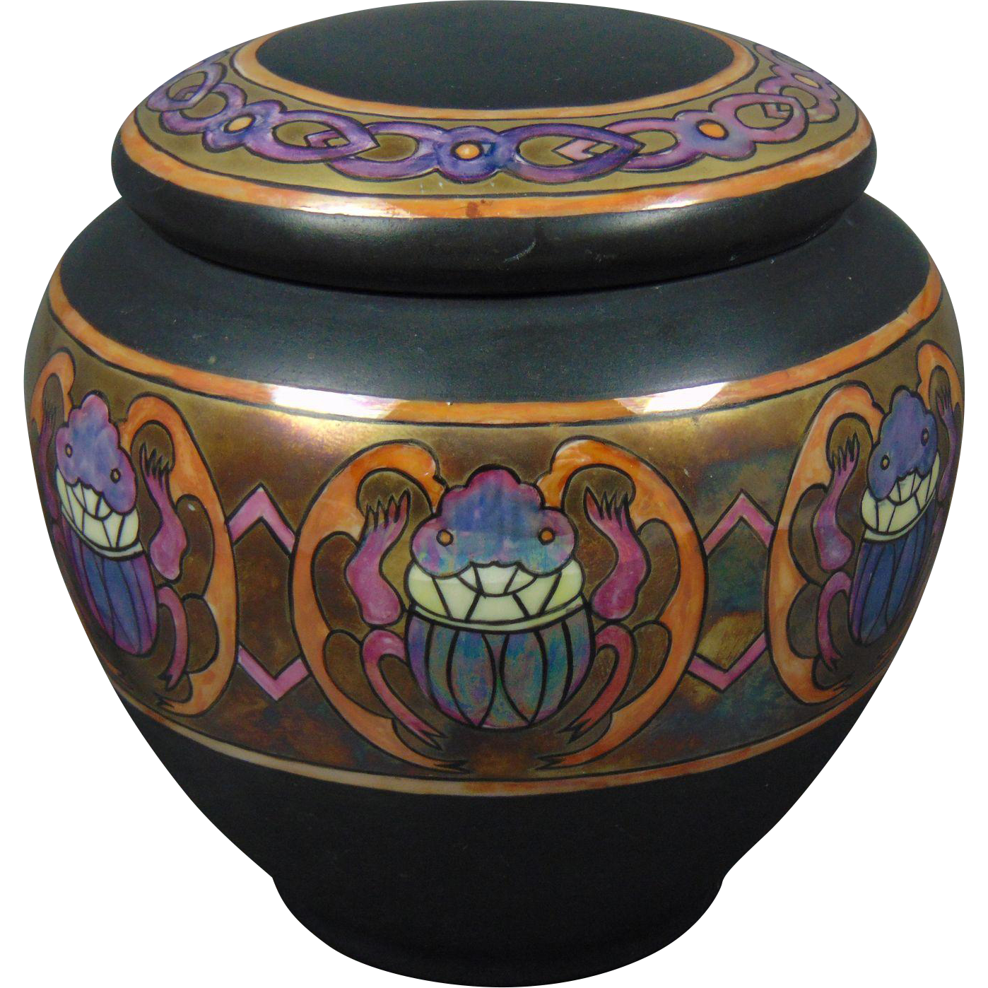 "Gerard, Duffraisseix & Abbott (GDA) Limoges Arts & Crafts Scarab Motif Covered Jar/Humidor (Signed ""E. Savage""/c.1900-1941)"
