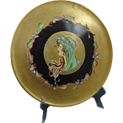 "Tressemann & Vogt (T&V) Limoges Arts & Crafts Mucha-Style ""Autumn Lady"" Design Charger/Plate (c.1900-1930)"