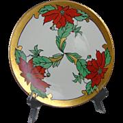 "Tirschenreuth Bavaria Arts & Crafts Poinsettia Design Plate (Signed ""Eva Woddle""/c.1903-1930)"