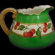 Willets Belleek Arts & Crafts Cherry Motif Cider/Lemonade Pitcher (c.1880-1904)