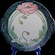 P.M. Mavaleix (PM de M) Limoges Arts & Crafts Poppy Motif Handled Plate (Signed/c.1908-1914)