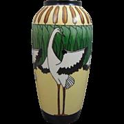 """Bernardaud & Co. (B&Co.) Limoges Arts & Crafts Crane & Cattails Motif Vase (Signed """"RFH""""/c.1910-1930)"""