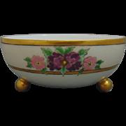 """Bavaria Arts & Crafts Enameled Floral Design Footed Bowl (Signed """"L.M.C.""""/Dated 1915)"""