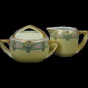 Rosenthal Donatello Bavaria Arts & Crafts Daisy Motif Sugar & Creamer Set (c.1907-1930)