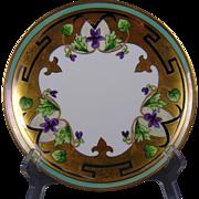 Stouffer Studios Haviland Limoges Gold & Platinum Violets Design Plate (Signed/c.1906-1914)