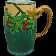 Jean Pouyat (JP) Limoges Dragon Handled Arts & Crafts Leaf & Berry Design Tankard/Mug (c.1910-1930)