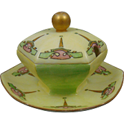 "Paroutaud Freres (P&P) Limoges Arts & Crafts Condiment Dish (Signed ""K.P. Duncan""/Dated 1913)"