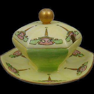 "Paroutaud Freres (P&P) Limoges Arts & Crafts Condiment Dish (Signed ""K.P. Duncan""/Dated 1913)"