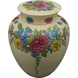 "American Satsuma Enameled Floral Design Covered Jar (Signed ""L.M.O.""/Dated 1918)"