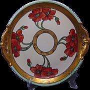 """Moritz Zdekauer (MZ) Austria Arts & Crafts Poppy Motif Handled Serving Plate (Signed """"Queen Cadwell""""/c.1900-1920)"""