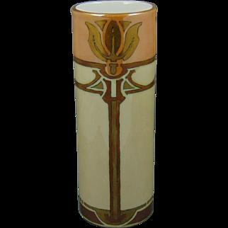 """Tressemann & Vogt (T&V) Limoges Arts & Crafts Floral/Tulip Motif Lustre Vase (Signed """"Keener""""/c.1915-1930) - Keramic Studio Design"""