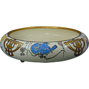 "American Satsuma Arts & Crafts Enameled Bird Design Footed Centerpiece Bowl (Signed ""Lorna Muth""/Dated 1918)"