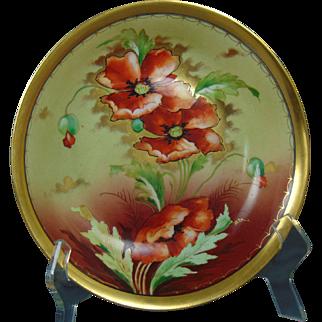 """Pickard Studios P.M. Mavaleix (PM de M) Limoges Poppy Design Bowl (Signed """"Leon""""/c.1903-1905)"""