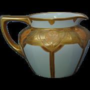 """Jean Pouyat (JP) Limoges Arts & Crafts Etched Gold Floral Design Cider/Lemonade Pitcher (Signed """"M.C.V.""""/c.1910-1930)"""