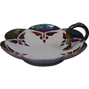Tressemann & Vogt (T&V) Limoges Arts & Crafts Purple Lustre Butterfly Motif Lemon Server/Dish (c.1910-1930)