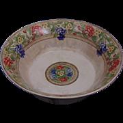 "American Satsuma Arts & Crafts Floral Motif Centerpiece Bowl (Signed ""Hazel Wilson Harris""/Dated 1912) - Keramic Studio Design"