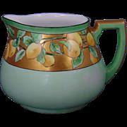 """Heinrich & Co. Arts & Crafts Lemon Design Lemonade/Cider Pitcher (Signed """"Harriet Thrift""""/c.1910-1930)"""