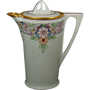"Uno Favorite Bavaria Arts & Crafts Enameled Floral Coffee/Chocolate Pot (Signed ""E.M.W.""/c.1910-1930)"