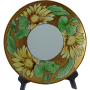 "Hermann Ohme Silesia Sunflower Motif Plate (Signed ""Morgan""/c.1882-1920)"