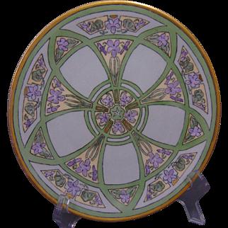 """Favorite Bavaria Arts & Crafts Enameled Violet Design Plate (Signed """"Celia Louise Still""""/Dated 1910)"""