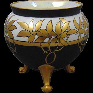 Porcelain Arts & Crafts Black & Gold Floral Design Footed Planter/Vase (c.1910-1940)